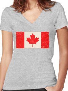 Canadian Maple Leaf Flag Women's Fitted V-Neck T-Shirt