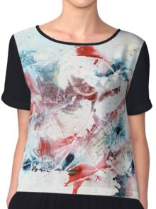 Red and blue abstract Chiffon Top