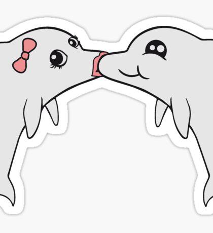 freund paar pärchen freundin kuss küssen knutschen liebe verliebt girl weiblich frau mädchen sexy hot heiß schleife süß niedlich comic cartoon baby kind klein delfin  Sticker