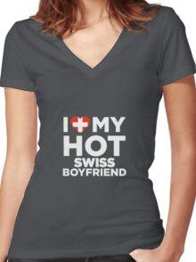 I Love My Hot Swiss Boyfriend  Women's Fitted V-Neck T-Shirt