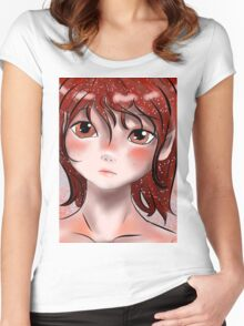 Deep Red Women's Fitted Scoop T-Shirt
