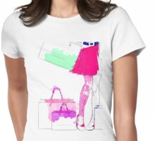 Watercolor shopping woman legs Womens Fitted T-Shirt
