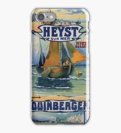Antique summer travel fishing boat Heist Duinbergen iPhone Case/Skin