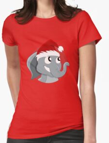Cute Christmas elephant cartoon Womens Fitted T-Shirt