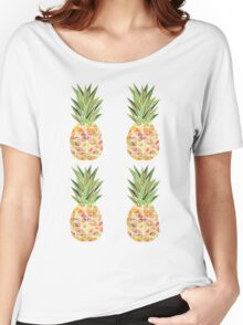 Geometric Multicolored Pineapple Women's Relaxed Fit T-Shirt