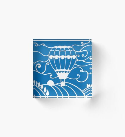 Paper art - Hot Air Balloon on a royal blue background Acrylic Block