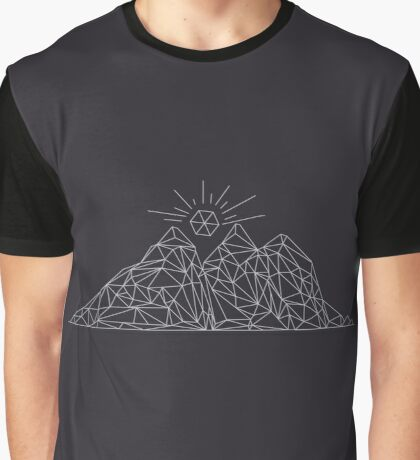 Mountain shape with low poly design. Mountains filled with triangles. Geometric simple design Graphic T-Shirt