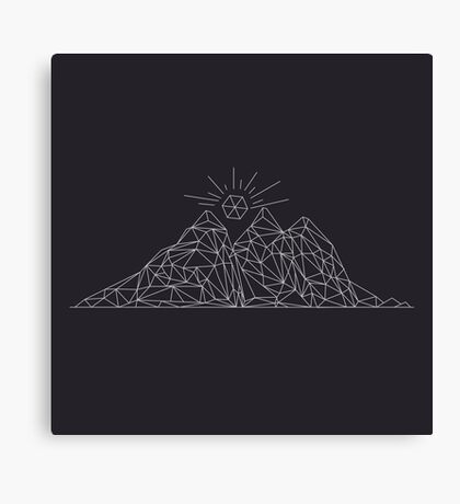 Mountain shape with low poly design. Mountains filled with triangles. Geometric simple design Canvas Print