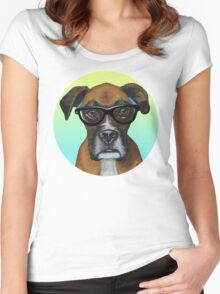 Hipster Boxer Dog Women's Fitted Scoop T-Shirt