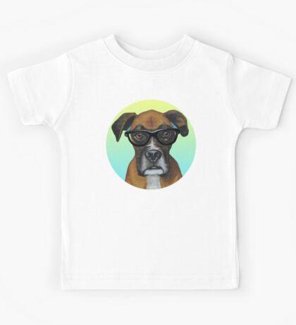 Hipster Boxer Dog Kids Tee