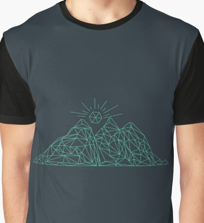 Mountain shape with low poly design. Mountains filled with triangles. Geometric simple design. Dark background with turquise illustration. Graphic T-Shirt