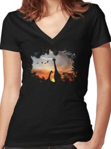 Wild African Sunset Women's Fitted V-Neck T-Shirt