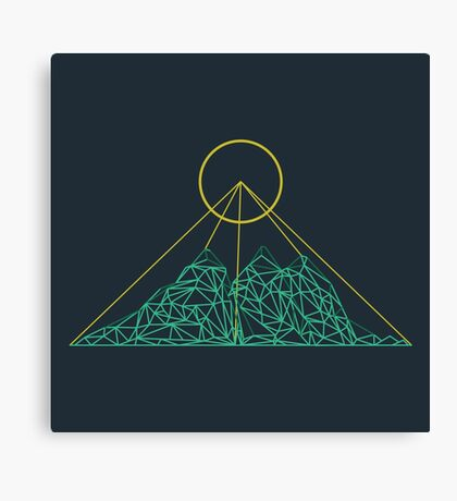 Mountain shape with low poly design. Mountains filled with triangles. Geometric simple design. Dark background with turquise and yellow illustration. Canvas Print