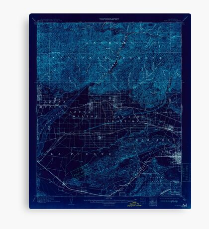 USGS TOPO Map California CA Pomona 298636 1904 62500 geo Inverted Canvas Print
