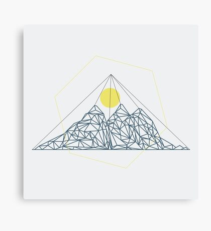 Mountain shape with low poly design. Mountains filled with triangles. Geometric simple design. White background with blue and yellow illustration. Canvas Print
