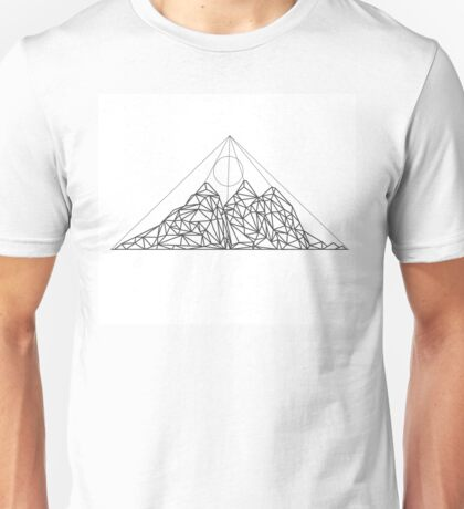 Mountain shape with low poly design. Mountains filled with triangles. Geometric simple design. White background with black illustration. Unisex T-Shirt