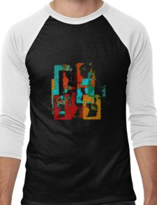 City Form. Abstract Geometric Cityscape With Fuzzy Texture. Men's Baseball ¾ T-Shirt