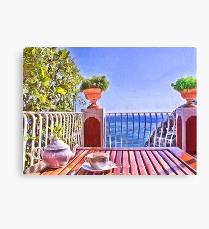 Teatime In Positano Italy Canvas Print