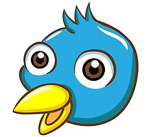 Head of cute blue cartoon bird by berlinrob