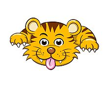 Front of funny little cartoon tiger  Photographic Print