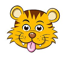 Head of funny little cartoon tiger  Photographic Print