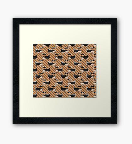 Yorkie Stripes Pattern Framed Print