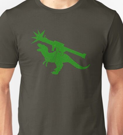 Cute green Tyrannosaurus TREX with a rocket launcher Unisex T-Shirt