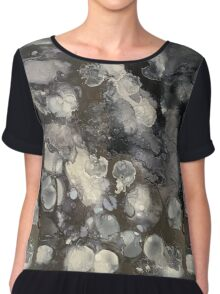Alcohol ink - black, silver, grey Chiffon Top
