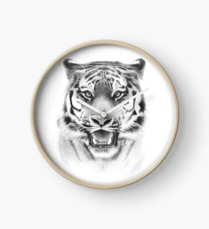 Tiger face on white Clock