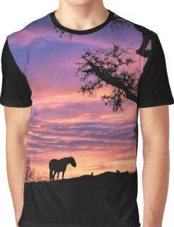 Horse, Oak Tree and Purple Sunrise Graphic T-Shirt