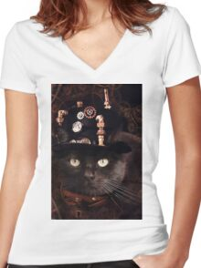 Steampunk Funny Cute Cat Women's Fitted V-Neck T-Shirt