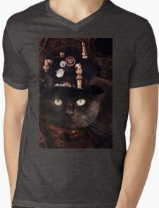 Steampunk Funny Cute Cat Mens V-Neck T-Shirt