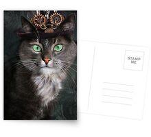 Steampunk Funny Cute Cat 3 Postcards