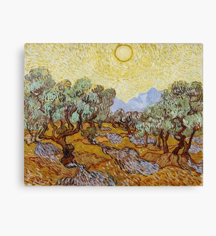 Vincent Van Gogh - Olive Trees With Yellow Sky And Sun 1889 Canvas Print