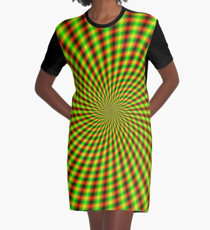 Spiral Rays in Yellow Green and Red Graphic T-Shirt Dress