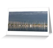 A Break in the Clouds - Gray Sky, White Yachts Greeting Card