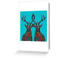 poinsettia deer blue Greeting Card