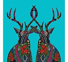 poinsettia deer blue Photographic Print