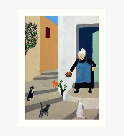 Greek Painting Yaya With Cats Art Print