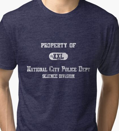 Property of NCPD - distressed - white Tri-blend T-Shirt