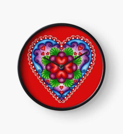 Painted Heart Clock