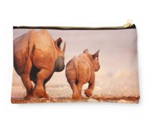 Black Rhinoceros calf and cow  Studio Pouch