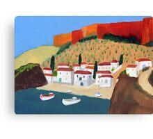 Greek Painting Small Village Canvas Print