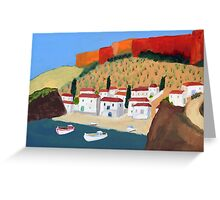 Greek Painting Small Village Greeting Card