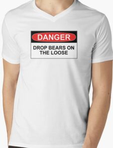 Danger: Drop Bears on the Loose! Mens V-Neck T-Shirt