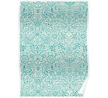 Detailed Floral Pattern in Teal and Cream Poster