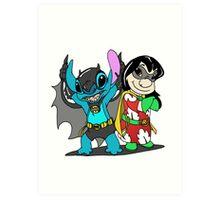 Bat-Stitch & Lilo-Robin Art Print