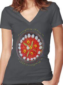 Frangipani flower blossoms Women's Fitted V-Neck T-Shirt