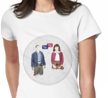 """""""First Date, Last Night"""" (circle background) Womens Fitted T-Shirt"""