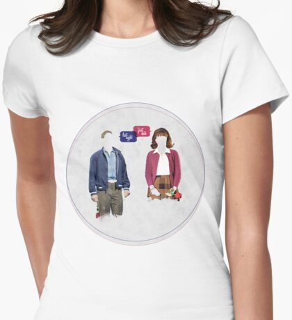 """First Date, Last Night"" (circle background) Womens Fitted T-Shirt"